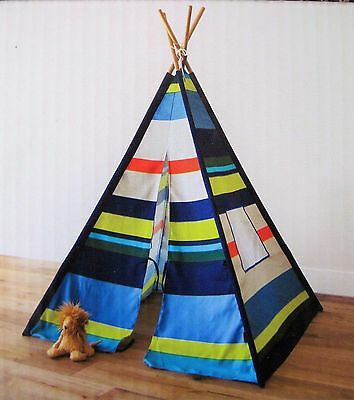 New French Bull Kids Tee Pee Teepee Play Tent - Blue Green Stripes 45 x 45 x 60