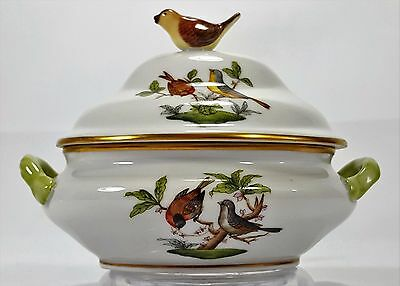 Herend Rothschild Mini Tureen with Bird Finial Excellent Condition