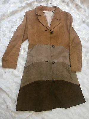 vintage suede 1960s knee length coat authentic