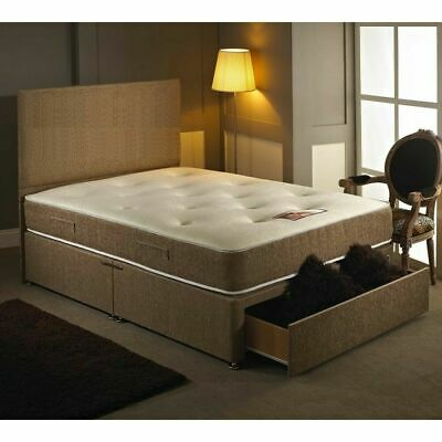 BROWN Q MEMORY FOAM DIVAN BED SET WITH MATTRESS  HEADBOARD 3FT 4FT6 Double 5FT