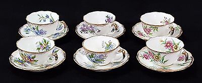 Seat of 6 Vintage NAPCO Miniature Hand Painted Cups Saucers EXCELLENT CONDITION