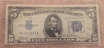 1934 A Series $5.00 Bill, Silver Certificate, Blue Seal Note, Great Note !