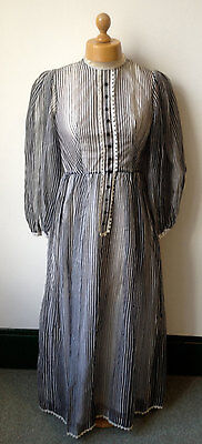 vintage 1970s Gina Fratini black & white Victoriana striped maxi dress S 8/10