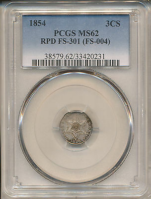 1854 Three Cent Silver Ms62 Pcgs Repunched Date Fs-301