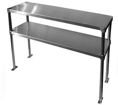 """NEW Commercial Stainless steel 12"""" X 48"""" Double Overshelf - Adjustable, NSF"""