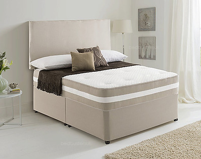 MEMORY FOAM DIVAN BED SET WITH 3D MATTRESS AND HEADBOARD 3FT 4FT6 Double 5FT