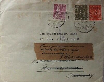 Indonesia 1951 Cover To Holland With Censor Cachet On Back
