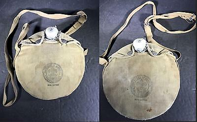 H) 2 Vintage Official Boy Scout Of America Camping Canteens Covers Straps
