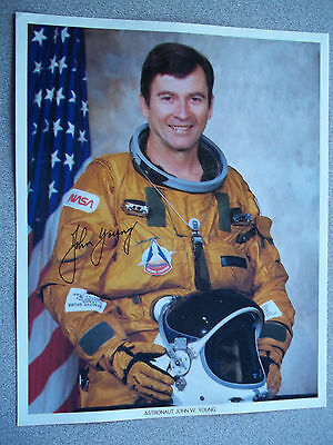 John Young 8X10 Autographed ( AUTOPEN ) NASA Photo in STS-1 (OSS) Flight Suit