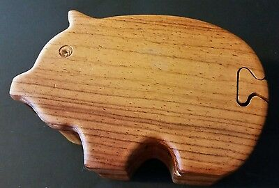 Carved Wooden Pig Puzzle Jewelry Box