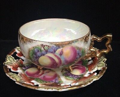 Royal Sealy Footed Tea Cup and Saucer Opalescent Fruit Pattern (Z17)