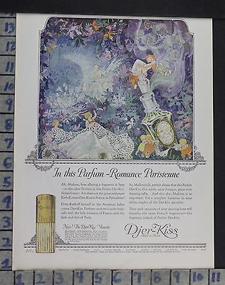 1923 Djer-Kiss Perfume Fairy French Paris Cologne Vintage Art Ad Dn33