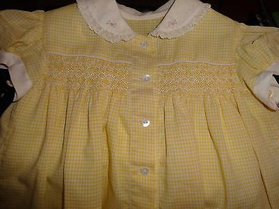 Vintage 1950's - 60's Yellow & White Check Toddler Dress size 12mos - 2T