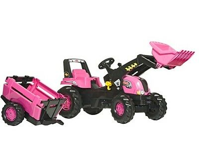 New Rolly Toys PINK Pedal Tractor Junior Tractor with Loader and Trailer Age 3+
