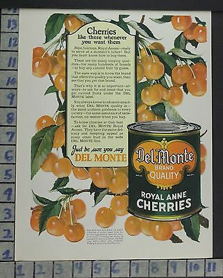1924 Del Monte Cherries Kitchen California Pantry Food Vintage Ad  Br26