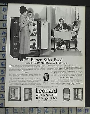 1924 Leonard Grand Rapids Ice Box Family Wife Kitchen Milk Home Decor Ad  Co60