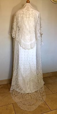 Stunning Huge Antique C19Th Lace Wedding Veil - Magnificent