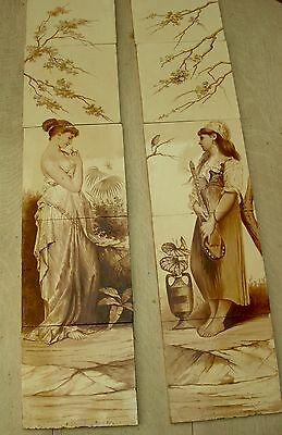 "Rare pair Antique fireplace 8"" tile panels - MINTON HOLLINS c1875"