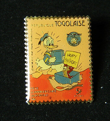 Donald Duck and Chip Happy Birthday Togolaise Postage Stamp Disney Pin RARE