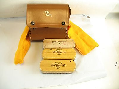Beacon Shoe Shine 3 brushes+2 pieces of cloth in case