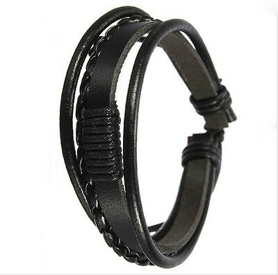 Men Black Cuff Multilayer Tribal Woven Surf Leather Bracelet Wristband