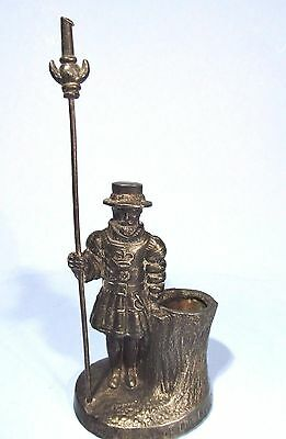 Antique Figural Metal Match Holder Yeomen Of The Guard English Beefeater Statue