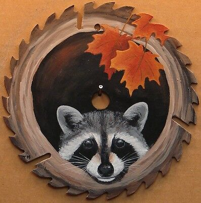 Hand Painted Saw Blade Raccoon Autumn Leaves Cabin Lodge Hunting Country Decor