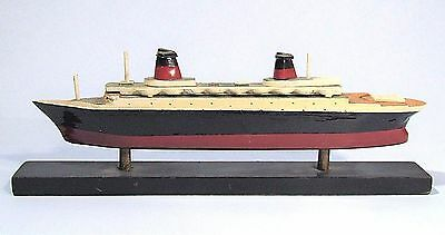 Vintage Ss France Ocean Liner Painted Wood Model Cruise Ship Nautical Display