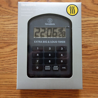 NEW ETI/ThermoWorks Extra Big And Loud Timer (Charcoal)
