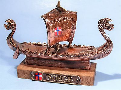 Norwegian Viking Ship Model Vintage Metal Souvenir Long Boat Replica Paperweight