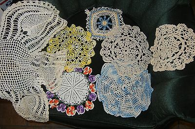 Vintage Handmade Crochet Doilies x 7 white, cream, and Multi Colored