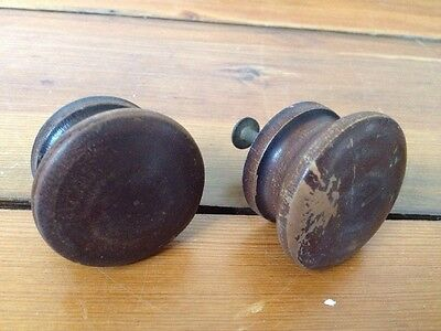 Pair Lot of 2 Antique Vintage Round Dark Wood Shabby Domed Drawer Pull Knobs