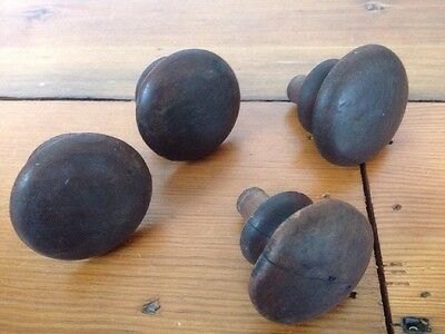 Lot of 4 Antique Vintage Victorian Dark Wood Domed Rounded Drawer Pulls Knobs