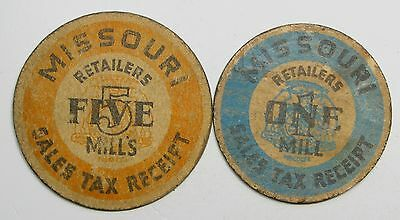 Lot of 2 Missouri 1 & 5 Mills Sales Tax Receipt Tax Tokens #56418