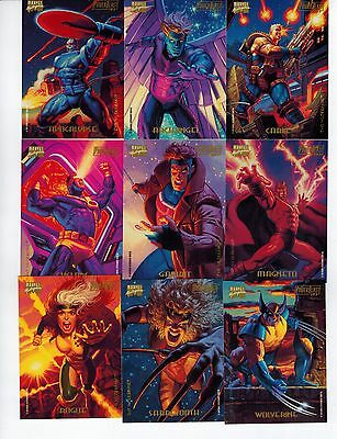 1994 Marvel Masterpieces Power Blast 9 Card Double Sided Insert Set 2017 Sale