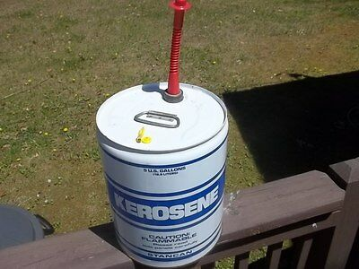 Vtg Rare STANCAN 5 GALLON METAL VENTED KEROSENE GAS CAN With Spout & Cap