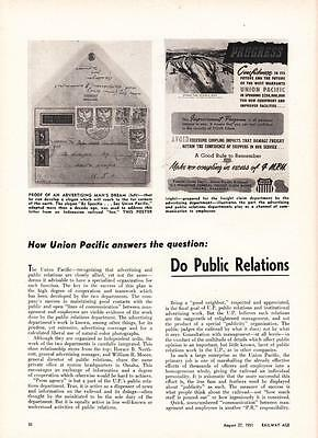 1951 Article: Union Pacific Railroad Does PR and Advertising Go Together
