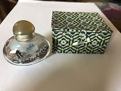 Chinese Snuff Bottle Reverse Painting In Original Box
