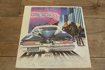 Girlschool - Hit And Run 1981 UK LP BRONZE SIGNED/AUTOGRAPHED RED VINYL