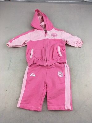 Vtg Majestic MLB San Diego Padres baseball PINK Baby tracksuit 3-6 months 2pc