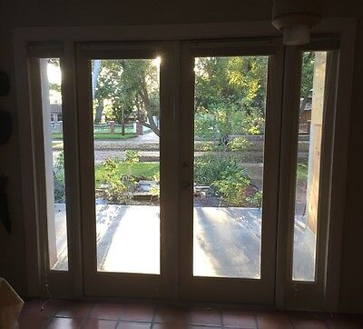 "Double Full light French Doors with two side lights 90"" x 80"" -white fiberglass"