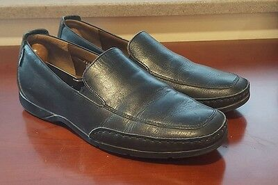 MEPHISTO Mens Black Leather Casual Dress Slip on Shoes Size 9, NICE!