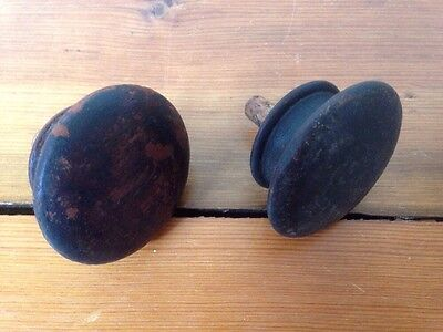 Lot of 2 Antique Vintage Victorian Similar Round Wood Domed Drawer Pulls Knobs