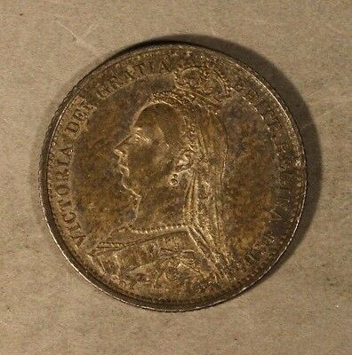 1889 Great Britain 6 Pence Silver Victoria Nice Details  ** FREE U.S SHIPPING **