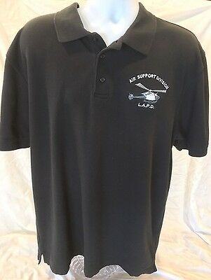 LAPD AIR SUPPORT DIVISION Helicopter Polo Button Shirt Los Angeles Police 2XL