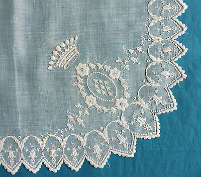 Antique  finely embroidered wedding handkerchief - lily of the Valley, coronet