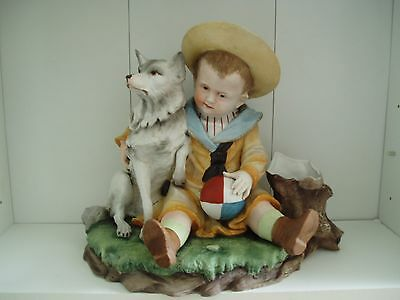 Lovely Old Large Bisque Figure Of A Boy With His Dog And Ball With Spill Vase