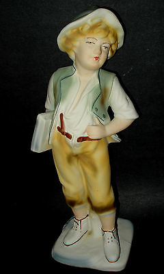 "Arpo Romania SCHOOL BOY YOUTH w/ BOOKS Porcelain Bisque Figurine 12"" Tall Statue"