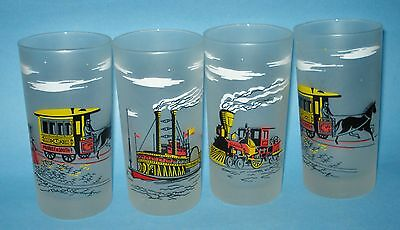 4 LIBBEY Antique Transport 12-oz BAR GLASS FROSTED TUMBLERS Car Train Coach Boat