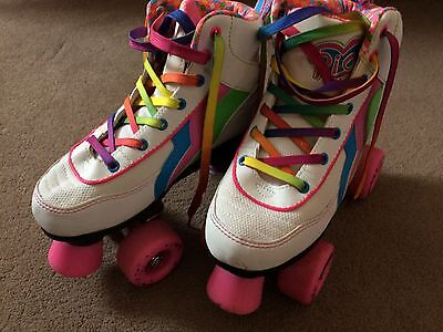 Rio Roller Classic II Disco quad Roller Skates / roller boots white size 2